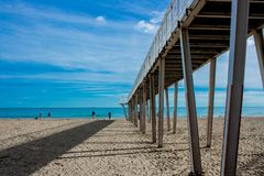 Pier beach of lido. Beach of Lido of Venice during winter, which explains why it is so empty. This is a very beautiful place in Italy and perfect for summer Royalty Free Stock Images