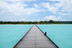 Pier on the beach, Maldives. The Maldives in October, indian ocean, Ari Atoll Stock Image