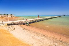 Pier on the beach of Red Sea in Hurghada Stock Photography
