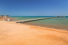 Pier on the beach of Red Sea in Hurghada Royalty Free Stock Photo
