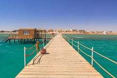 Pier on the beach of Red Sea in Hurghada Stock Image