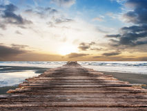 Pier at beach on twilight time. In Thailand Asia Stock Image