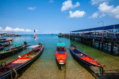 Pier at Beautiful Tropical beach in Koh Tao, Thailand royalty free stock images