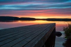 Pier bei Sonnenuntergang Stockfotos