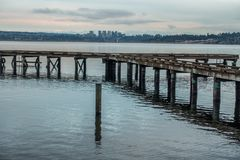 Pier And Bellevue Skyline royalty free stock photos