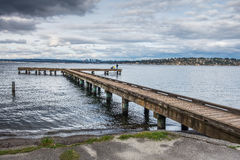Pier And Bellevue 2. A view of a pier on Lake Washington in Seattle. Bellevue can be seen in the disttance Royalty Free Stock Images