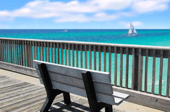 Pier Bench Overlooking Ocean Stock Photography