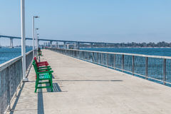 Pier with Benches at Cesar Chavez Park in San Diego Royalty Free Stock Photos