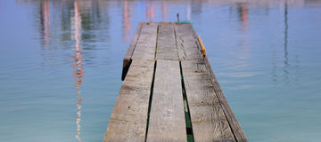 Pier and a big lake Stock Photo