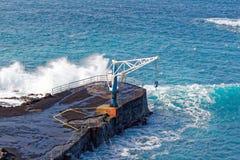 Pier bij de visserijdorp van Gr Pris, Tenerife, Spanje Stock Foto's