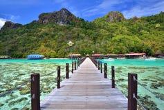 Pier bij het Eiland van Bohey Dulang dichtbij Sipadan-eiland Royalty-vrije Stock Foto's