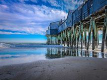 The Pier in black on Old Orchard Beach. The Pier from Old Orchard Beach, Maine at the end of November Stock Photography