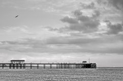 Pier black and white landscape. Moody black and white pier Royalty Free Stock Photos