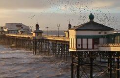 Pier Blackpool del norte, invierno Imagenes de archivo