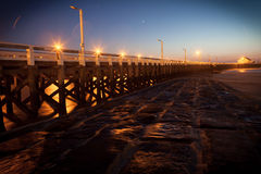 Pier. In Blankenberge Belgium in the evening nightfall planets jupiter and venus are visible Stock Image
