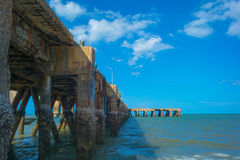 Pier. On the blue day stock images