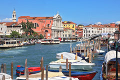 Pier for boats and gondolas in Venice Stock Photos