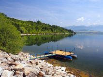 The pier for boats at Liptovska Mara, Slovakia Stock Photo