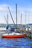 Pier and boats in Reichenau Island on Lake Constance. Reichenau is an island in Baden-Wurttemberg in Germany. It is under the UNESCO protection royalty free stock images