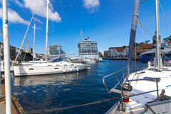 Pier with boats and ships in Stavanger, Norway. Stock Photography
