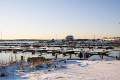 Pier with boats in winter, Norway Royalty Free Stock Photos