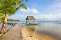 Pier on Boca del Drago beach, Panama Stock Photos