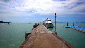 Pier with bridge on the island of Koh Samui in stock video