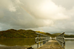Pier or bridge at the lake, view on the mountain Stock Images