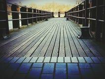 Pier bridge wooden architecture object. City centre London construction Royalty Free Stock Image