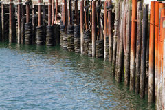 Pier Bumpers. Row of weathered pier posts with old tire bumpers Royalty Free Stock Image