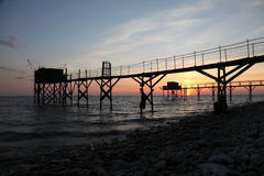 Pier and cabins for fishing Royalty Free Stock Photo