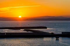 Pier in Cadiz at daybreak Royalty Free Stock Images