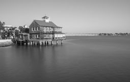 Pier Cafe at Seaport Village, San Diego in black and white royalty free stock image