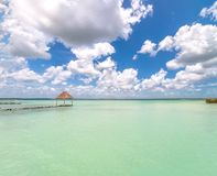 Pier in Caribbean Bacalar lagoon, Quintana Roo, Mexico Royalty Free Stock Photography