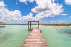 Pier in Caribbean Bacalar lagoon, Quintana Roo, Mexico Stock Image