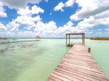 Pier in Caribbean Bacalar lagoon, Quintana Roo, Mexico Royalty Free Stock Images