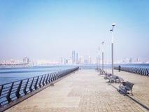 Pier at the Caspian Sea. With skyline of Baku, Azerbaijan royalty free stock image
