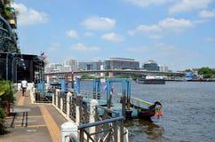 Pier on the Chao Phraya River Royalty Free Stock Photos