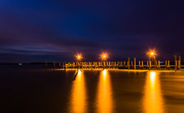 Pier on the Chesapeake Bay at night, in Havre de Grace, Maryland Stock Images
