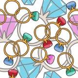 Pierścionki z diamentami Doodle bezszwowy wzór Wektorowy Illustratio Zdjęcia Stock