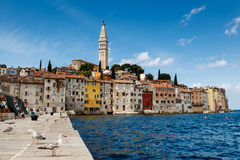 The Pier and the City of Rovinj on Istria Peninsula Royalty Free Stock Photos