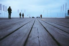 Longest wooden pier in Europe stock images