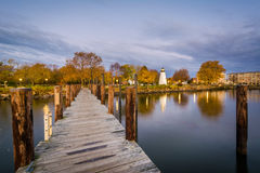 Pier and Concord Point Lighthouse in Havre de Grace, Maryland. Stock Photos