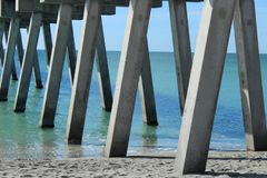 Pier concrete pillars royalty free stock photography