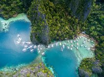 Pier in Coron, Palawan, Philippinen Coron im Hintergrund Bereisen Sie A stockfotografie