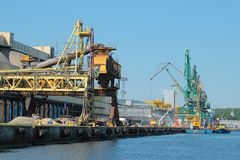 Pier with cranes and gantry in port Stock Photos