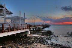 Pier at dawn royalty free stock photos