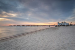 Pier before dawn, Baltic Sea, Ahlbeck (Heringsdorf) Germany Stock Photos