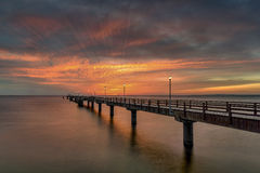 Pier before dawn, Baltic Sea, Ahlbeck Royalty Free Stock Image