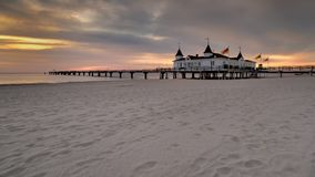 Pier before dawn, Baltic Sea, Ahlbeck (Heringsdorf) nature Stock Images